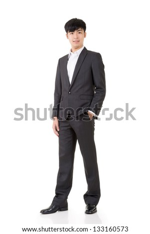 Young Asian businessman portrait isolated on whtie background.