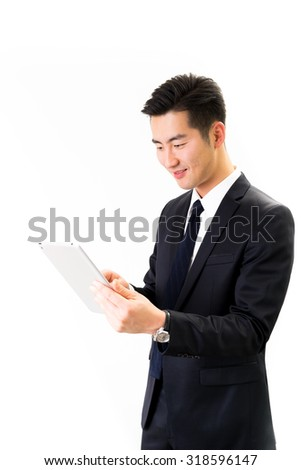 Young Asian businessman & tablet white background