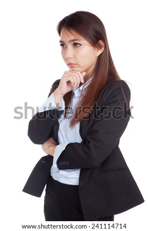 Young Asian businesswoman is  thinking  isolated on white background