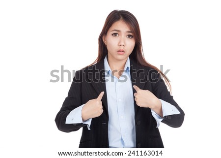 Young Asian businesswoman  pointing questioningly at herself  isolated on white background