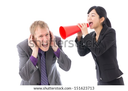 young asian businesswoman shouting on white background