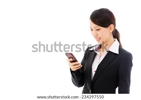 young asian businesswoman using smart phone isolated on white background