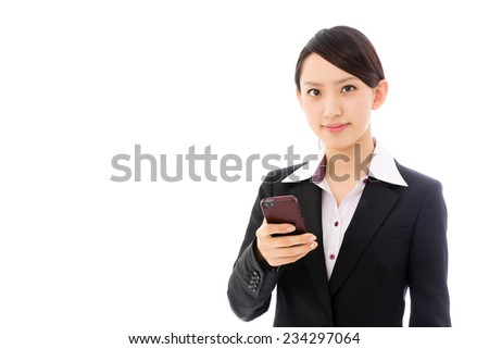 young asian businesswoman using smart phone on white background