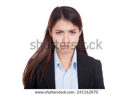 Young Asian businesswoman very angry  isolated on white background
