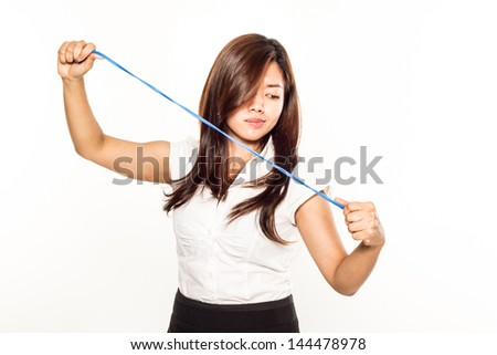 young asian businesswoman with a string