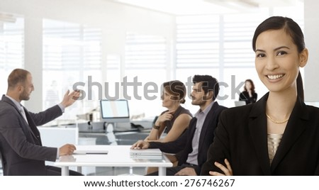 Young asian businesswoman with business team working at office.