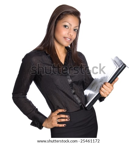 Young Asian businesswoman with folders and notes