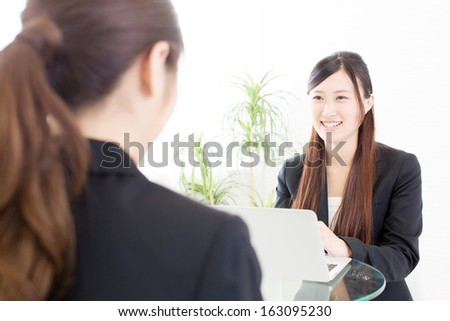 young asian businesswomen working in office
