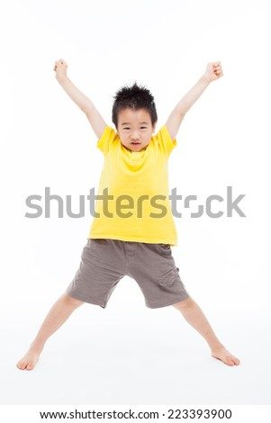 Young Asian child hands up isolated on white.