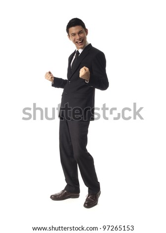 Young Asian Corporate Man double fist pump over white background