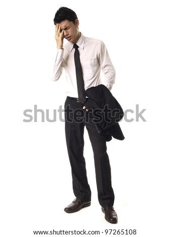 Young Asian Corporate Man feeling stressed white backgroung