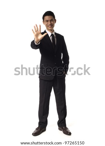 Young Asian Corporate Man Five fingers over white background