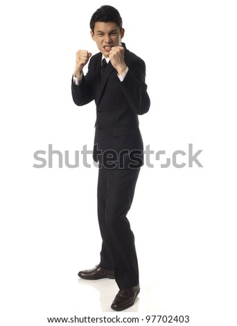 Young Asian Corporate Man prepareing to fight over White Background