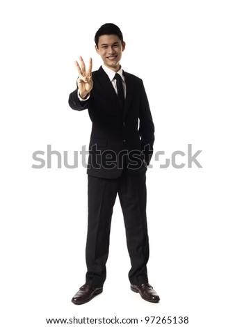 Young Asian Corporate Man Three fingers over white background