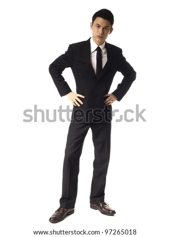 Young Asian Corporate Man with Serious Look Over White Background