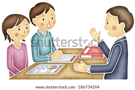 Young Asian couple consulting with agent - stock photo