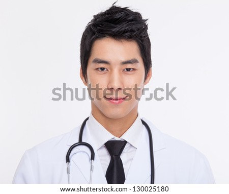 Young Asian doctor close up shot isolate on white background. - stock photo