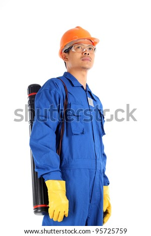 young asian engineer with drawings case and complete personal protective equipment standing isolated on white background