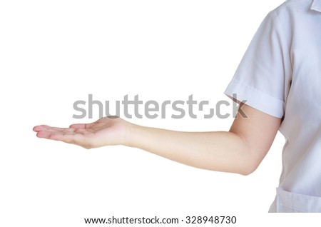 young asian female doctor showing blank area for sign or copyspace, isolated over white background - stock photo