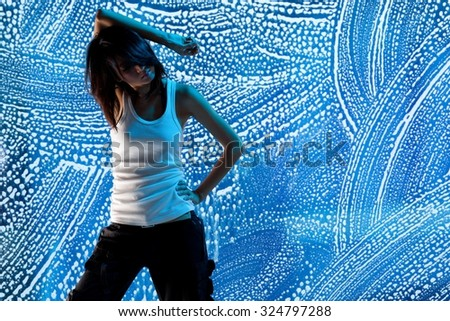 Young asian female r&b dancer - interesting pattern as a background