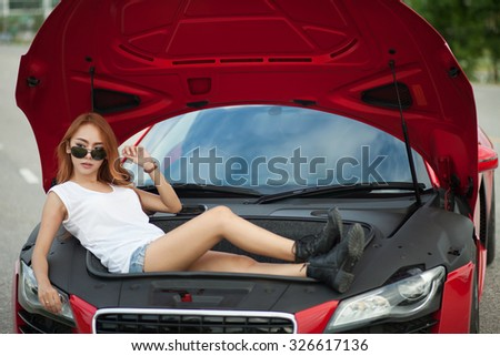 Young Asian Girl Red Super Car Stock Photo Royalty Free 326617136