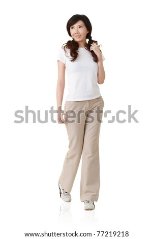 Young Asian lady, full length portrait isolated on white background.