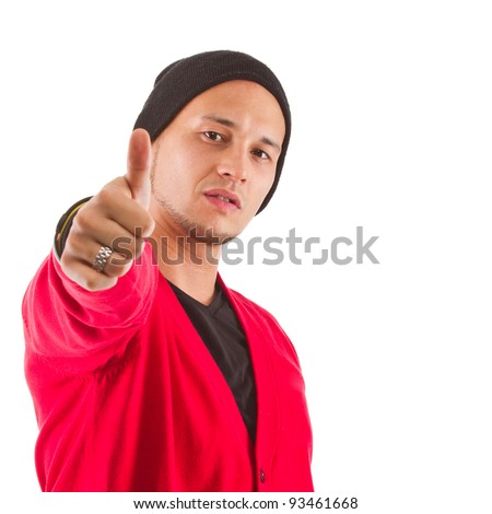 Young asian man giving a thumbs up sign. Isolated over white background. - stock photo