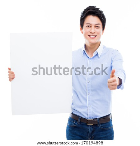 Young Asian man showing a pannel card isolated on white background.