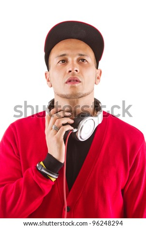 Young asian man with headphones an stylish clothes - a dj. - stock photo