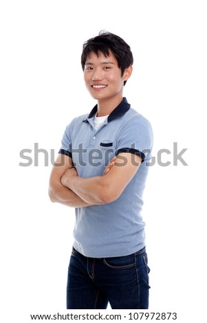Young Asian man with smiling isolated on white background.