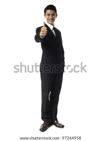 Young Asian Man with thumbs up Against White Background