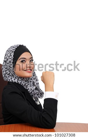 young asian muslim business women in present action isolated on white - stock photo