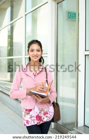 Young asian muslim woman smile beautiful - stock photo