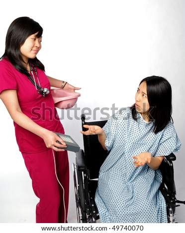 Young Asian nurse demands payment for use of bedpan - healthcare reform is expensive