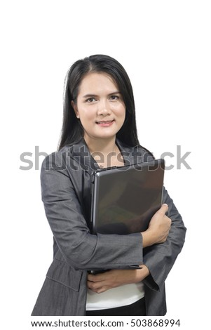 Young Asian pretty business woman holding laptop.