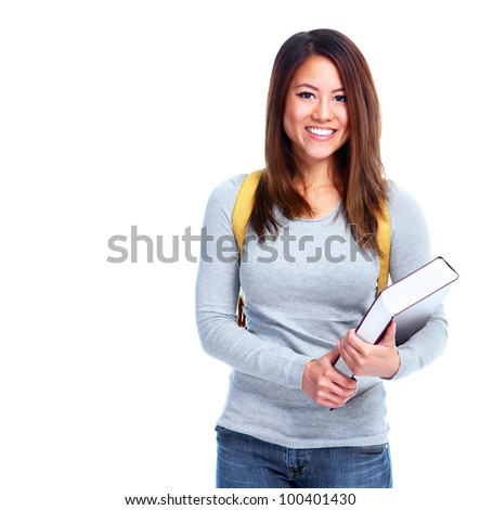 Young asian student girl with book. Isolated on white background. - stock photo