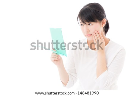 young asian woman beauty image on white background
