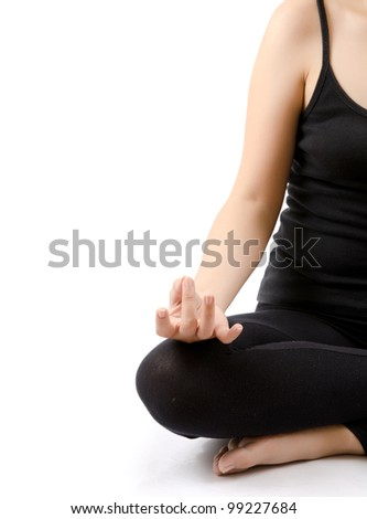 Young Asian woman doing yoga exercise. - stock photo
