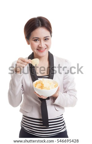 Young Asian woman eat potato chips  isolated on white background.