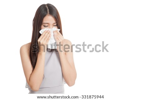 Young Asian woman got sick and cold  isolated on white background - stock photo