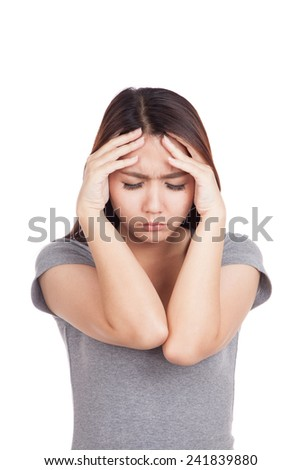 Young Asian woman got sick and headache  isolated on white background - stock photo
