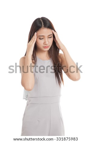 Young Asian woman got sick and headache  isolated on white background