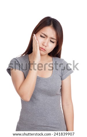 Young Asian woman got toothache  isolated on white background