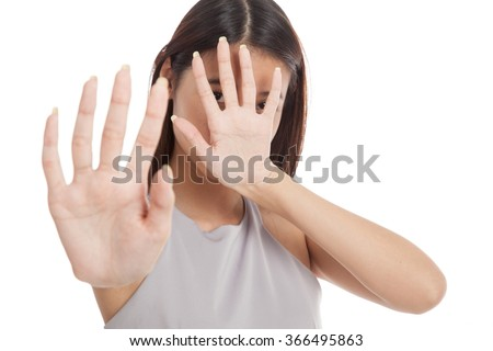 Young Asian woman  hide her  face  isolated on white background