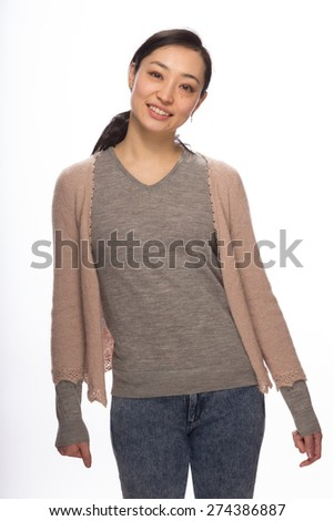 Young Asian woman in studio smile happy face portrait