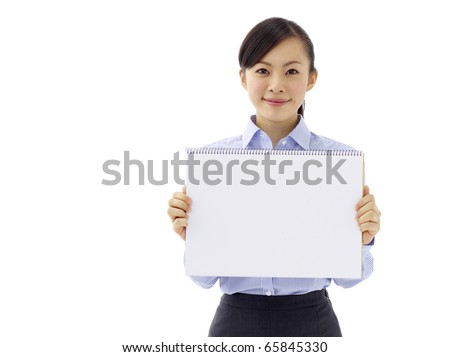 Young asian woman is holding empty text board over white background