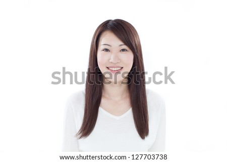 Young Asian woman isolated on white background - stock photo