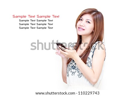 Young Asian Woman playing on her mobile phone