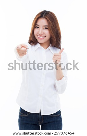 Young Asian woman pointing you isolated on white background. - stock photo