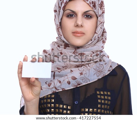 Young asian woman portrait wearing a red head scarf isolated on white. - stock photo